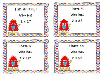 I Have, Who Has Mixed Multiplication 2's, 3's, 4's-CCSS Aligned