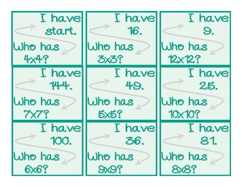 I Have, Who Has Multiplication Card Set