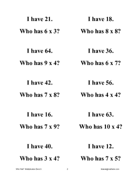 I Have Who Has?  Multiplication Card game