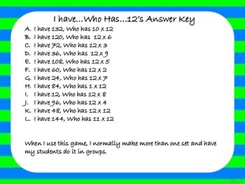 Multiplication Game - I Have Who Has - x12