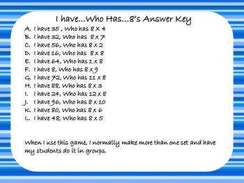 Multiplication Game - I Have Who Has - x8
