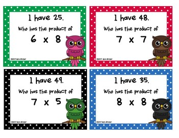 I Have, Who Has Multiplication Edition