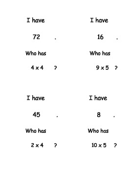 I Have, Who Has...? Multiplication Facts 0-10 set