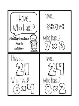 I Have... Who Has...? Multiplication Facts