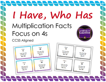 I Have Who Has Multiplication Facts Focus on 4s