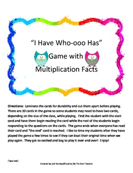 I Have Who Has Multiplication Facts Game