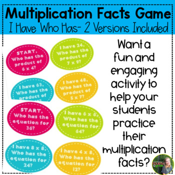 I Have, Who Has Multiplication Facts Game- 2 games