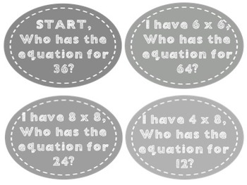 I Have, Who Has Multiplication Facts Game- Black and White