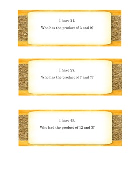 I Have, Who Has? Multiplication:  Facts of 0-12