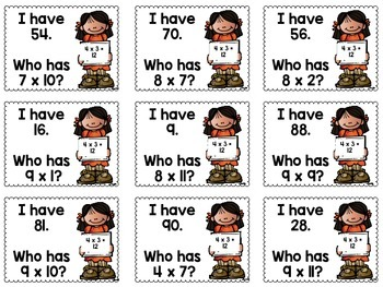 I Have Who Has Multiplication Facts with 7, 8, and 9