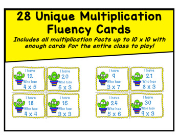 I Have Who Has Multiplication Fluency Game