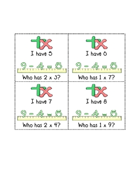 I Have Who Has Multiplication Fun