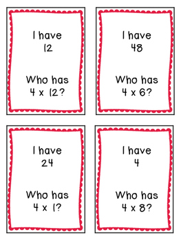 I Have, Who Has.. Multiplication Game {2's, 3's, and 4's}