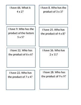 I Have/Who Has...Multiplication Game