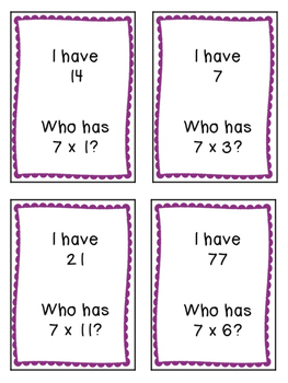 I Have, Who Has.. Multiplication Game {5's, 6's, and 7's}