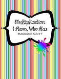 I Have Who Has Multiplication Game Center.  Rainbow colors Times Facts 0-9
