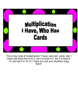 """I Have, Who Has"" Multiplication Game Facts from 0 to 12... 4 sets!!!"
