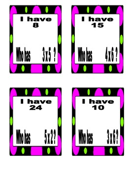 """""""I Have, Who Has"""" Multiplication Game Facts from 0 to 12... 4 sets!!!"""