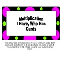 """""""I Have, Who Has"""" Multiplication Game Facts from 0 to 12.."""