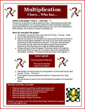 I Have Who Has Multiplication Math Facts Review Activity