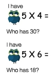 I Have Who Has Multiplication Owl Theme