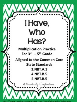 I Have Who Has Multiplication Practice