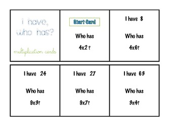 """I Have. Who Has?"" Multiplication Review Activity"