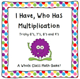 Multiplication Game-I Have, Who Has Multiplication- Tricky
