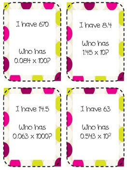I Have Who Has: Multiplying Decimals by Powers of 10