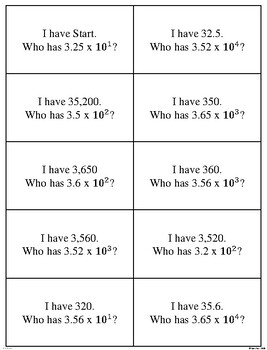 I Have, Who Has? Multiplying Decimals by Powers of 10