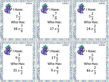 I Have Who Has: Multiplying Fractions