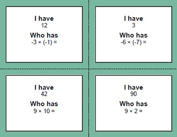 I Have, Who Has - Multiplying Integers