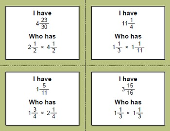 I Have, Who Has - Multiplying Mixed Fractions