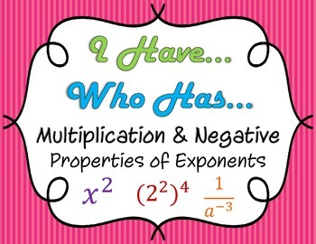 I Have Who Has: Multiplying & Negative Properties of Exponents