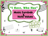 """I Have, Who Has"" Music Game, Symbols and Note Values"