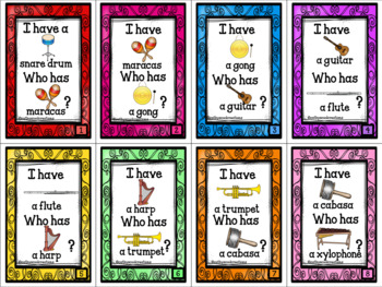 I Have...Who Has Musical Instruments Card Game- assessment and practice