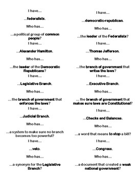I Have / Who Has - New Government