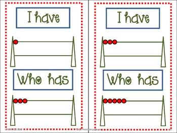 I Have Who Has Number-Dominoes, Fives Frame, Tens Frame, Rekenreks by Kim Adsit