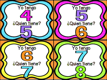I Have Who Has Number Game in Spanish