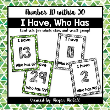 I Have, Who Has-Number Identification within 30