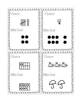 I Have, Who Has - Number Representations 1-10