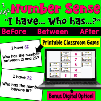 I Have... Who Has:  Number Sense (Before, Between, & After)    2 digit numbers