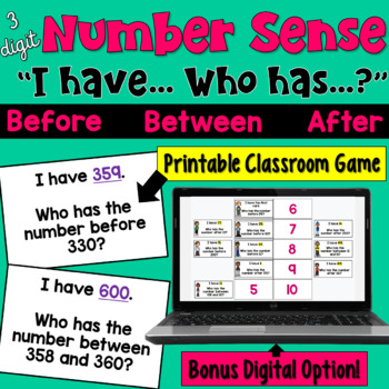 Number Sense I Have Who Has Game (Before, Between, & After) 3 digits