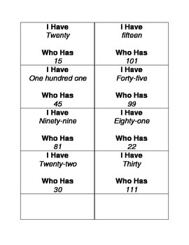 I Have, Who Has? Number Word Form