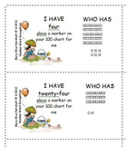 I Have Who Has - Number Word Recognition with Base-10 & 100 chart