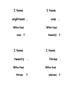 I Have, Who Has...? Number Words 0-20 set