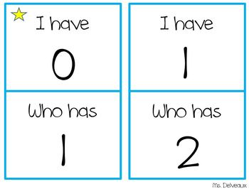 I Have, Who Has Numbers 0 - 20