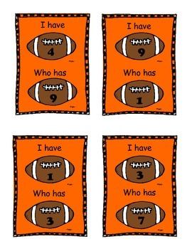 I Have Who Has Numbers 0-25 Football Theme