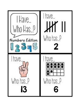 I Have... Who Has...? Numbers 1-20