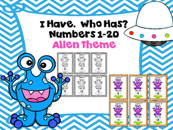 I Have.  Who Has?  Numbers 1-20 Alien Theme (color and black and white)